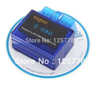 OBD2 OBD II Super Mini ELM 327 V1.5 Bluetooth Car Auto Diagnostic Scanner Tool Android PC  free shipping track Wholesale Retail