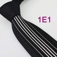 Coachella Men's ties New design Black Knot Contrast White Stripe Two Tone Woven Necktie Formal Neck Tie for dress shirt Wedding