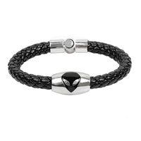 BD029 Wholesale Braided Genuine Leather Alien ET Symbol Bracelet jewellery For Men Woman