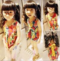 free shipping children clothing Girl T shirt  2013 summer new retro sunflower kids vest tops doll shirt. 5pcs/lot
