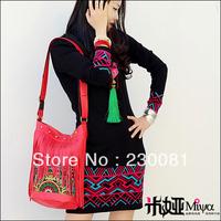 Brand 2013 New Arrival Genuine Leather Tassel Ethnic  Embroidery Design Woman Bag Red Trendy Shoulder/Messager Bag