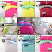 Solid color Princess bedclothes bedding set 4pcs silk/linen queen king size comforter/quilt/duvet cover bed sheet home textile
