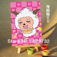 JIUJIU DIY digital oil painting Free shipping the picture unique gift home decoration 10X15cm Glutton Lazy paint by number