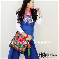 2013 New Arrival Brand Bag Genuine Leather Bags Vintage Embroidered Tassel Messager Bag/Totes/Shoulder Bag Floral