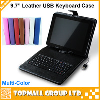 "Free shipping 9.7 inch USB Leather tablet keyboard case cover for 9.7"" android tablet pc"