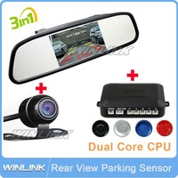 "2013 3 in 1 Dual Core Auto Parking Sensor System + Rear View Camera + 4.3"" Car Mirror Monitor Can Display Distance Free Shipping"
