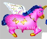 Free shipping 20pcs/lots wholesale high-quality foil balloon helium balloon , Unicorn , Pegasus large pink  blue 75cmX61cm