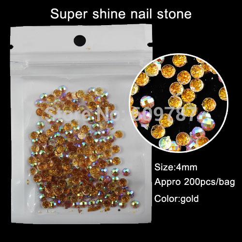 4*4mm Gold 200pcs Nail Art Bling Glitter Manicure Make Up Stone(China (Mainland))