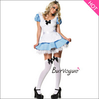 Hot Sale Carnival Costume Sexy Alice in Wonderland Costume Popular Cosplay Adorable Wench Girl Blue Maid Outfit