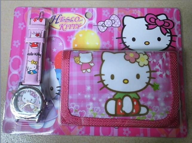 Free shipping Hello Kitty girl's cartoon wallet watches children Students Fashion Kids purse Watch Christmas gifts 1pcs/Lot(China (Mainland))