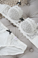 [ A B C Cup 32 -38] Black white sexy lace embroidery cutout ultra-thin bra set half women's transparent underwear Free Shipping