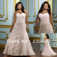 Free Shipping 2012 Best Selling Custom-made Organza Cascading Ruffle Plus Size Wedding Dress BP14001