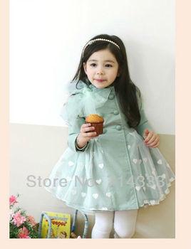 5pcs/lot New Arrival Girls Princess Bow Jackets Kids Cute Heart Pattern Coat Children Veil Coats Baby Outerwear Windbreakers