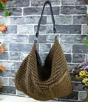 2014 fashion hook needle straw rattan tassel female bag one shoulder bag handbag beach bag