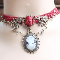 Burgundy lace flower vine crystal necklace false collar  clavicle European and American jewelry