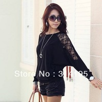 2013 Brand New Women's Cotton Loose Shirt Batwing Lace Long Sleeve T-Shirt Blouse Women Color-Black White S M L zy1950