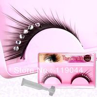 Free Shipping Black Fake Eyelashes Extension With Diamond + glue Glitter False Eye Lashes CM027