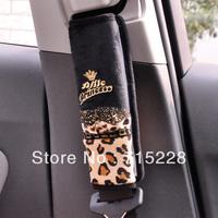 C-1510 car safety belt cover car plush shoulder pad set leopard print car accessories Free Shipping