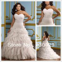 Free shipping AR-632 Elegant Plus size A-Line Beaded Pleat Organza Write/Ivory Pink Plus Size Wedding Dress Custom-made