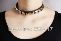 2013 fashion rivets choker cool leather necklace goth punk rock leather adjustable necklace stylish  hip pop necklace