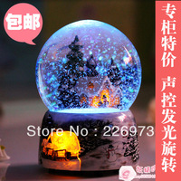 Rotating light emitting wsa crystal ball music box birthday gift novelty day