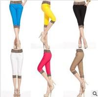 Hot!!!!! Women's woven cotton leopard grain splicing leggings, show thin haroun pants, candy color high quality pencil pants