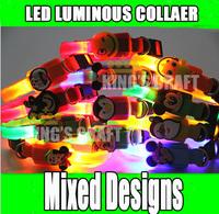 LED luminous Pet Collar Dog Cat  LED Collar Mixed Color Free Shipping