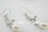 Korean jewelry freshwater pearl earrings 925 silver butterfly earrings Time     Free  Shipping