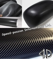 Black 4D carbon fiber vinyl wrap film 1.52x30m air free bubbles Free Shipping