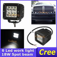 2x Cree Led Offroad light 18W Car Black 24V/12V ATV Truck 6 leds Work Light 4WD 4x4 head Lamp UTV 10 degree Spot Beam IP67