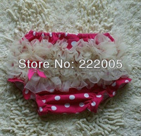 2012 NEW style fashion Polka Dots BABY Bloomer with ivory Chiffon Ruffles Baby Bloomers FOR Wholesale