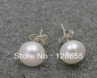 925 sterling silver pearl earrings 10-11MM simple earring female models     Free  Shipping