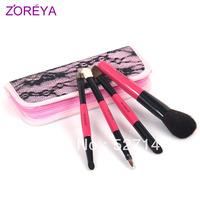 Zoreya cosmetic brush professional 3 double slider 1 Pink lace zipper bag cosmetic brush set