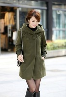 Autumn and Winter Overcoat Double Breasted Woolen Coat Hooded Female Medium-long Wool Coat Wool Blends Jacket For Women