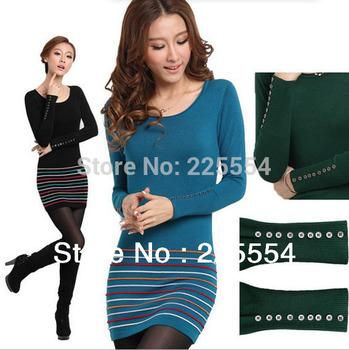 Верх quality Korean version Pullovers plus Размер свитер dress medium-Длинный О-образным ...