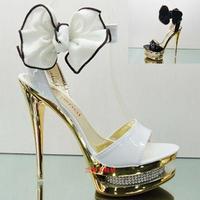 Free Shipping Fashion sandals luxury rhinestone bow 14cm ultra high heels platform open toe shoe white wedding shoes