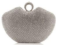 Super Full Diamond Evening Clutch Bag Heart Shape Finger Ring Full Rhinestones Dinner Bag/Handbag Gold/Silver/Black NO1250