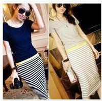 2014 New Women's Summer Modal Cotton Maxi Dress Bodycon Short Sleeve Dress Light Grey/Blue Stripe Patchwork Plus Size S/M/L/XL