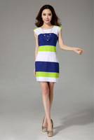 Woman Cheap Chiffon Striped Summer Dresses,Hip Package Dress,Free Shipping Wholesale Dress Cheap Price,Hot Sell,One Day Leading