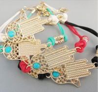 M&T(12PC/Lot) 2013 New Arrival Handmade High Quality Neon Fatima Hamsa Hand Bracelet