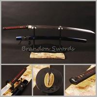 1060 Carbon Steel Blade Black Japanese Sword Golden Menuki Katana Sharp Can Cut Bamboo * ESA105