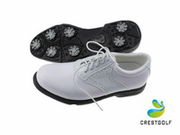 Free Shipping 2014 New Arrival White Men's Golf Shoes Waterproof Breathable Shoes With White and Black Genuine Cow Leather