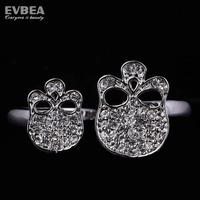 vintage rings for women stainless steel skull ring two finger rings for women adjustable size rhinestone skull skeleton rings