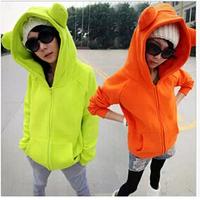 Free Shipping WE020 Women's Sweatshirt  2014 Fashion Cat Ears Hooded Hoodies Zip Up Cardigans Casual Wear 5 Colors