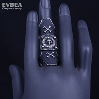 punk smooth middle knuckle paver skull rings stainless steel biker skull rings for men biker skull cross ring for two fingers