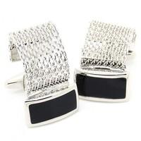 cuff links uk Black Enamel Wrapped Around Cufflinks