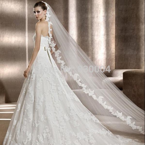 Braut spitzenschleier, 3 m Schicht schleier, Kirche brautschleier, zwei farben: weiß und elfenbein, andere Größen angepasst werden,