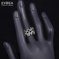 crystal vintage rings punk smooth middle knuckle paver skull rings  for men and women biker ring skull man 316l