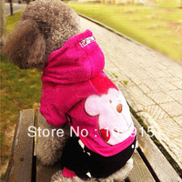 New Fleece Dog Pet Clothes Cute Pink Bear Warm Suit Hoodie Coat Apparel Jumpsuit  LX0079 For Freeshipping
