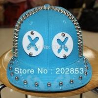 Free shipping Hot sale Eyes shape hip-hop hat Acrylic board rivet cap spike studded cap  Punk dance hat  jazz hat baseball cap